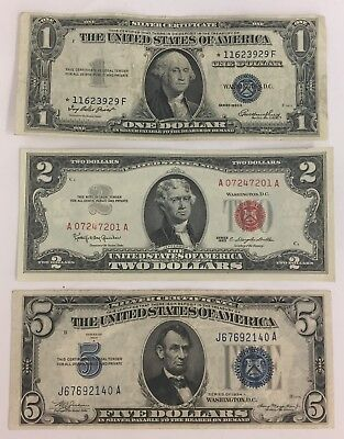 Lot of (3) $2 Legal tender Red Seal & $5 & Star $1 Silver Certificate PM-42