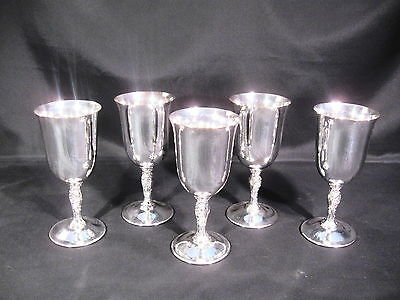 """Wm Rogers International Silver Plated 395 Goblets 8 1/4"""" Group of 5"""