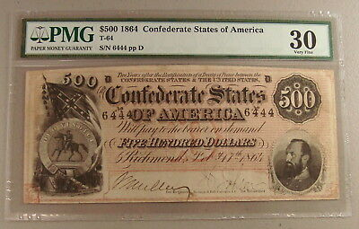1864 T64 $500 Confederate Note PMG Very Fine 30