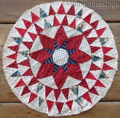 """Fabulous 1880s Antique Star Quilt BLOCK Tiny Triangles 13"""" x 13"""""""