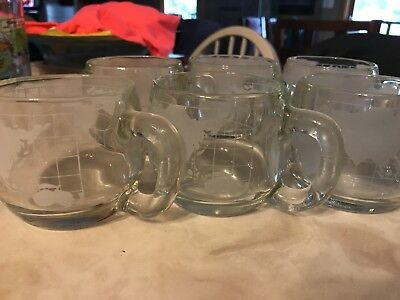 Set/6 Nestle World Globe Mugs Clear & Frosted Glass ~ Hot Chocolate/Coffee 70's