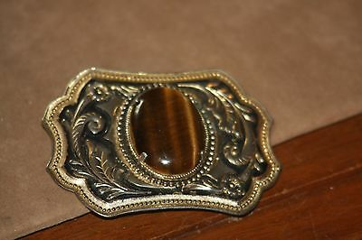 Vintage 1970's Western Style Belt Buckle With Tiger Eye Cabochon Nice