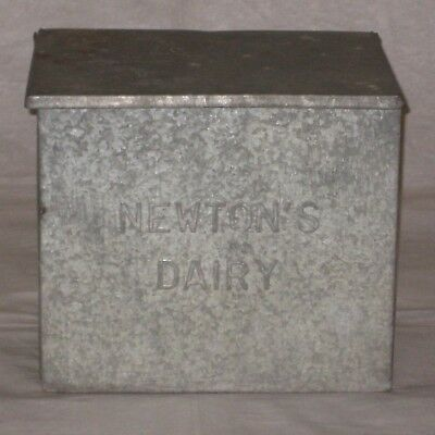 Vintage Newton's Dairy, Leominster, Mass, MA, Galvanized Porch Milk Box Cooler