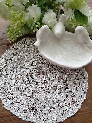 Pretty Antique c1900 White French Alencon Lace Doily 9x8