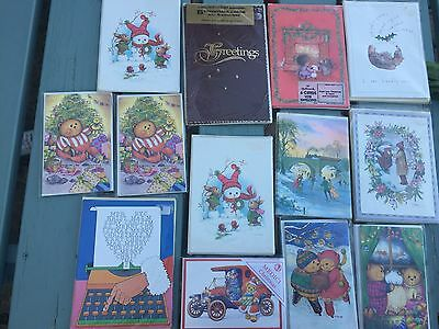 13 Packs Of Genuine Vintage Christmas Cards 1980's
