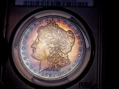 Morgan Silver Dollar 1887 P PCGS MS 63+++ Target Rainbow WOW COIN Colorful