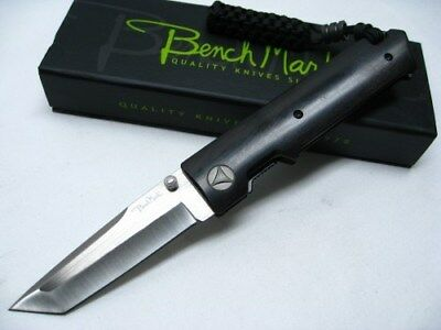 BENCHMARK Black Tactical Straight D2 STEEL Folding LINERLOCK Tanto Knife! BMK065