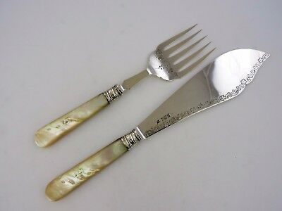 Beautiful Pair of SILVER & MOTHER-of-PEARL FISH SERVERS, Sheffield 1905