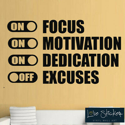 Focus Motivation Dedication Gym Fitness Wall Art Stickers Decal Vinyl Room