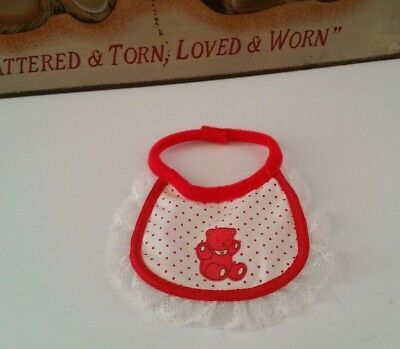 My child 1985 rare htf vintage red & white BEAR BIB from de-box doll ~ Excellent