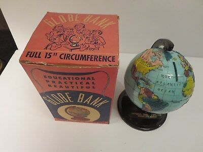 New 1960 High Relief Plastic GLOBE COIN Bank (Universal Trailer & Mfg Corp)