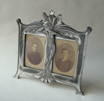 Lovely Rare WMF Art Nouveau Maiden Silver Plated Double Photo Frame Jugendstil