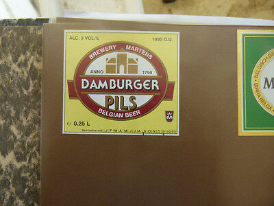 Vintage Belgium Beer Label. Martens Brewery - Damburger Pils 25 Cl