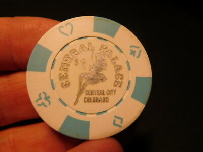Original obsolete CENTRAL PALACE CASINO CENTRAL CITY Colorado $1 Casino Chip
