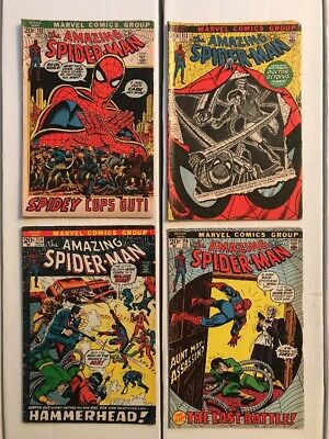 AMAZING SPIDER-MAN (Marvel 1972) Consecutive Lot #112 113 114 115 1st Hammerhead