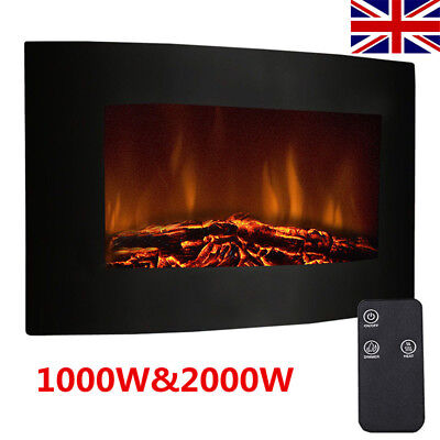 Wall Mounted Electric Fire Fireplace Curved Glass Heater Remote Control LED UK