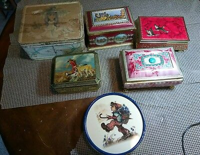A Lot Of 5 Vintage Tin Containers+1 Lunchbox. From Germany+England