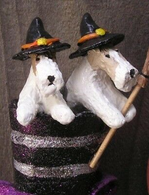 Wire Fox Terrier pair in a WITCH'S BOOT!