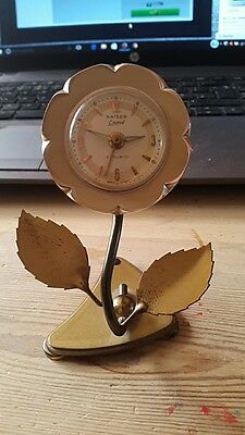 Vintage KAISER EXACT FLOWER CLOCK  WEST GERMANY Retro Alarm Clock