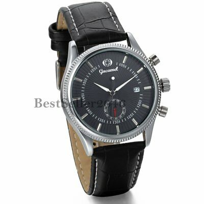 Mens Classic Steampunk Skeleton Automatic Mechanical Date Leather Wrist Watch