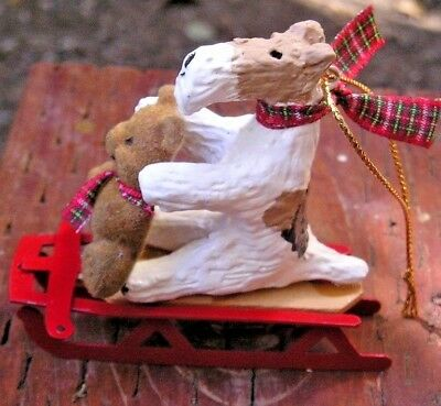 Wire Fox Terrier on a SLED with a BEAR Christmas Tree ORNAMENT!