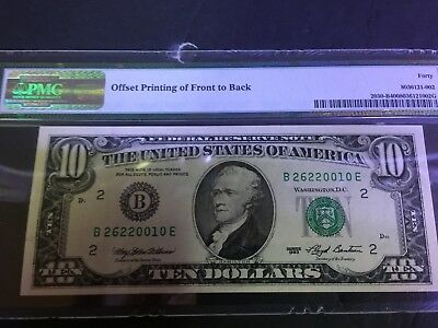 1993 Federal Reserve Note NY $10 PMG 40 Offset Printing Error Front to Back