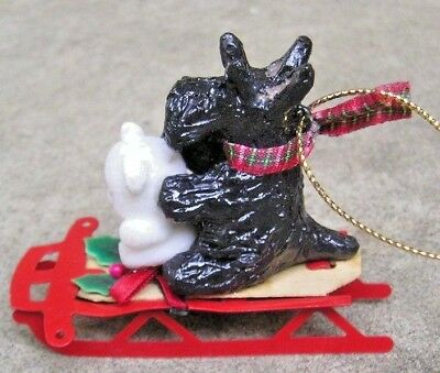 Scottish Terrier -SCOTTIE- on a SLED with a BEAR CHRISTMAS ORNAMENT!