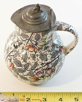 "Antique 6"" Brownfield Pottery Syrup Pitcher Transfer Decoration Bird Pewter Lid"