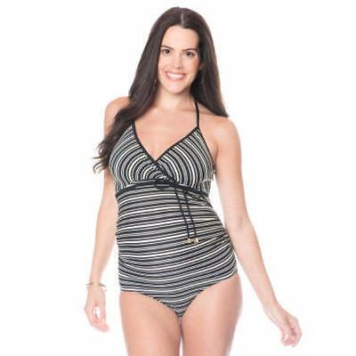 Motherhood Maternity Striped Swimsuit Small