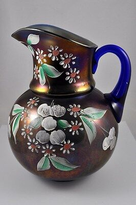 Northwood cobalt blue carnival glass lemonade pitcher. Reduced!