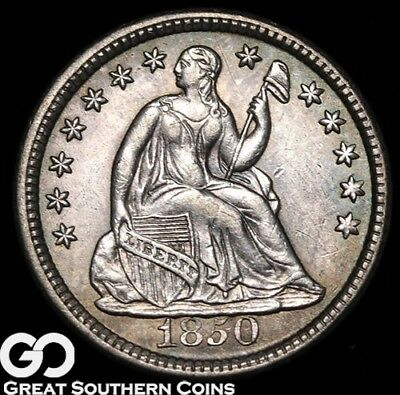 1850 Seated Liberty Half Dime, Gorgeous Choice BU++ Early Silver Type!
