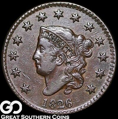 1826 Large Cent, Coronet Head, Very Nice AU Early Copper!