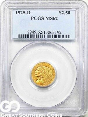 1925-D Quarter Eagle, $2.5 Gold Indian PCGS MS 62 ** Rich Golden Hue, Very PQ!