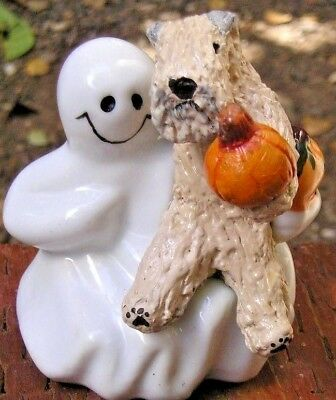 Soft Coated Wheaten Terrier HUGGING a Ceramic GHOST!