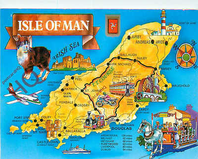 Picture Postcard- Isle Of Man, Map