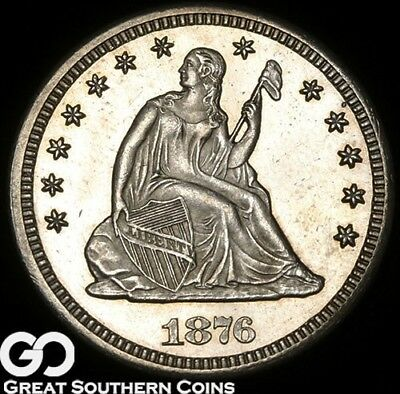 1876-CC Seated Liberty Quarter, PL Look, Better Date Choice Gem, Sharp!