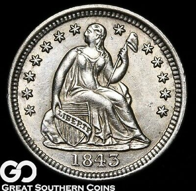 1843 Seated Liberty Half Dime, Very Sharp White Gem BU++ Silver!