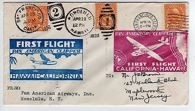 Amazing 1935 First Double Flight Cover--Pan Am Clipper, CA to HI, HI to CA