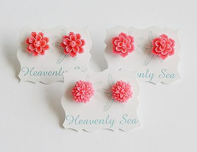 3 Pairs of Assorted Pink Resin Flower Floral Earring Set