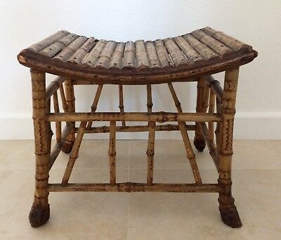 ANTIQUE Victorian Bamboo Stool split bamboo top strong joints