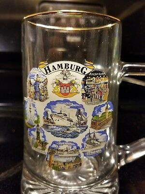 rare hamburg glass beer mug