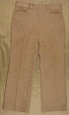 70's VTG Levis Panatela brown houndstooth double knit polyester pants 34 x 30