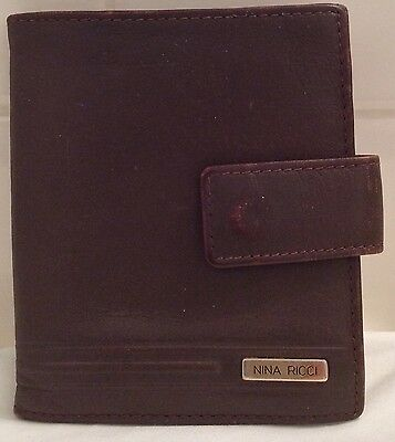 Nina Ricci Paris France Brown Leather Bifold 1990's Wallet Retro Pocket Book