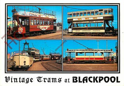 Picture Postcard~ VINTAGE TRAMS, BLACKPOOL (MULTIVIEW) [BAMFORTH]