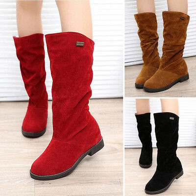 Women's Slouch Comfort Casual Flat Heel Mid-Calf Round Toe Pull On Boots Shoes