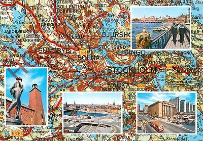 Picture Postcard:;Stockholm, Map (Multiview)