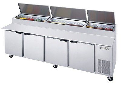 """Pizza Top Refrigerated Counter, 4 Section, 119"""" W, 52.5 cuft, Beverage Air DP119"""