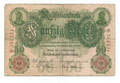 Germany 50 mark 1906 six digit serial number  P-26a (B97)