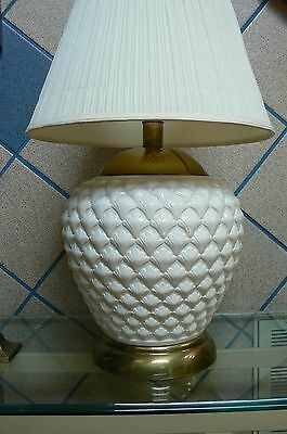 Vintage Frederick Cooper Chicago Large Brass & Off White Raised Pat Table Lamp