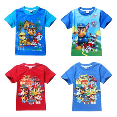 New Paw Patrol Boys Short Sleeve T-Shirts Cotton Casual Tops Summer Clothes 3-8Y